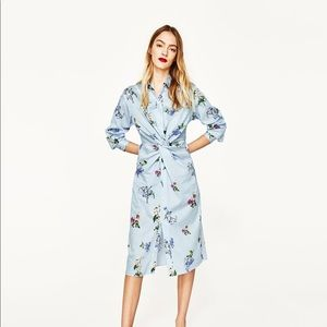 2be4a805f9 Zara Dresses - NWT Zara Floral Striped Front Knot Shirt Dress